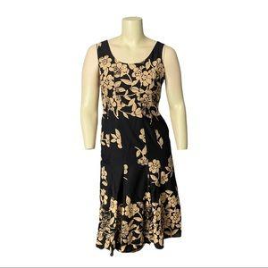Steilmann Black and Taupe Floral Sundress Size 12